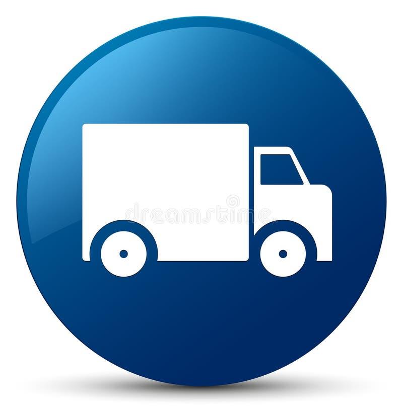 Bottone rotondo blu dell'icona del camion di consegna illustrazione vettoriale