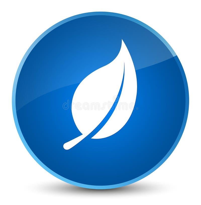 Bottone rotondo blu elegante dell'icona della foglia illustrazione vettoriale