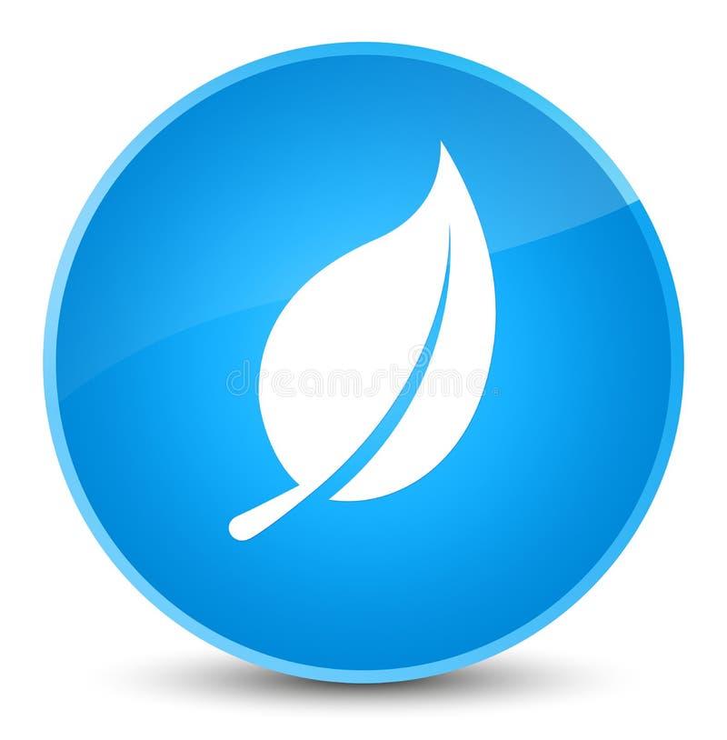 Bottone rotondo blu elegante dell'icona della foglia ciano illustrazione di stock