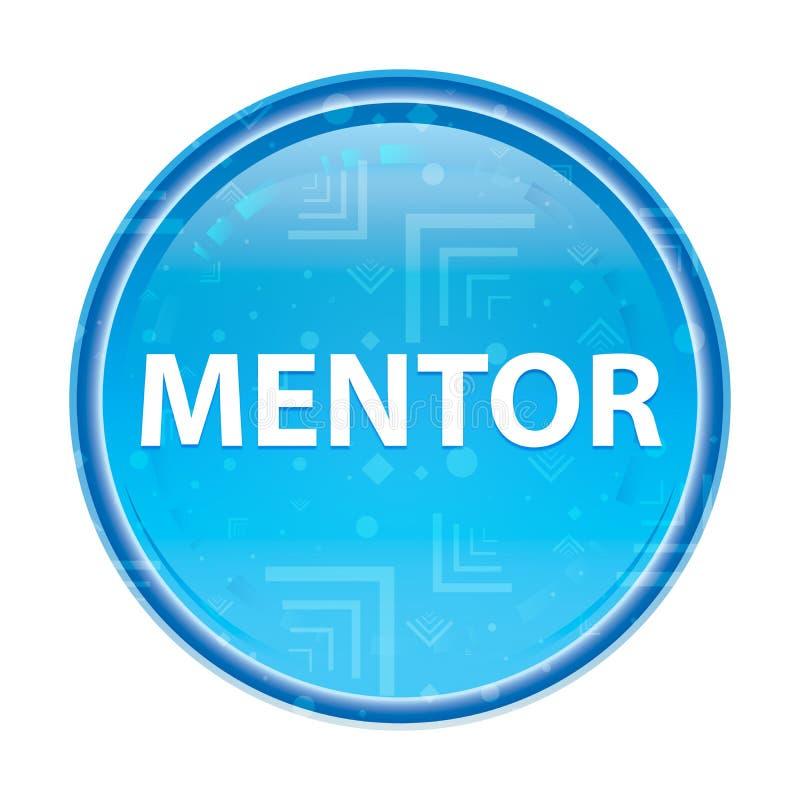 Bottone rotondo blu floreale del mentore illustrazione vettoriale