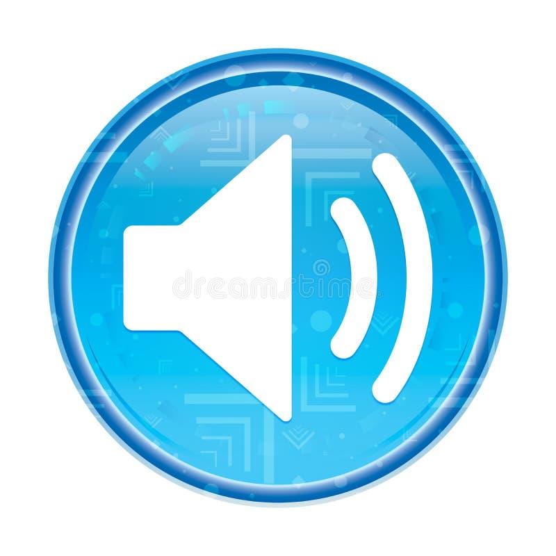 Bottone rotondo blu floreale dell'icona dell'altoparlante del volume royalty illustrazione gratis