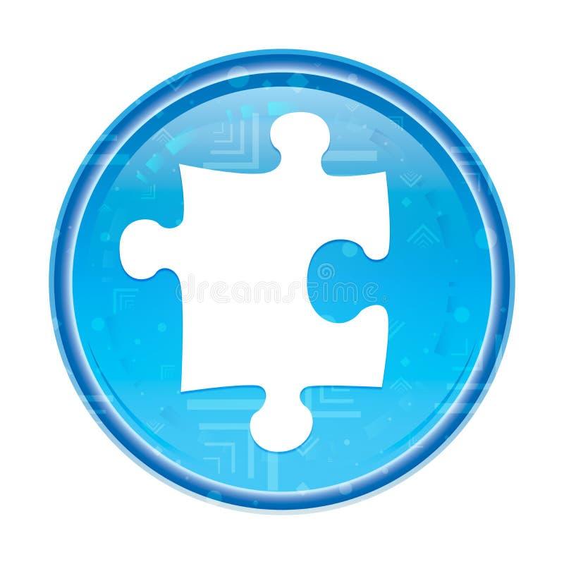 Bottone rotondo blu floreale dell'icona di puzzle illustrazione vettoriale