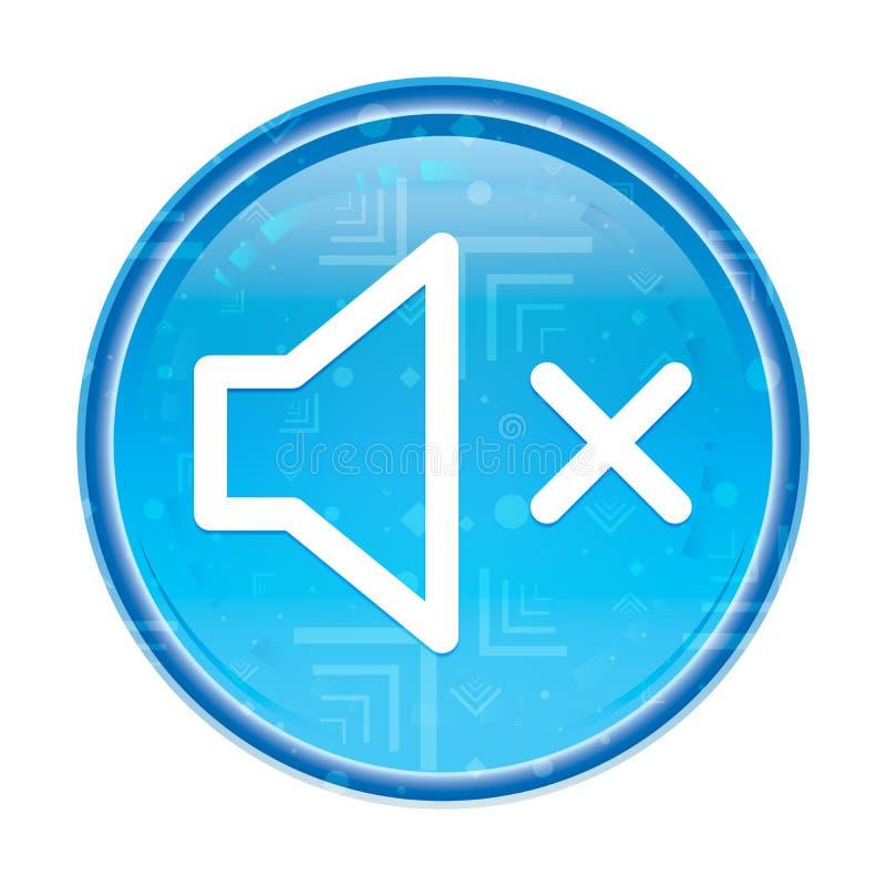 Bottone rotondo blu floreale dell'icona muta dell'altoparlante royalty illustrazione gratis