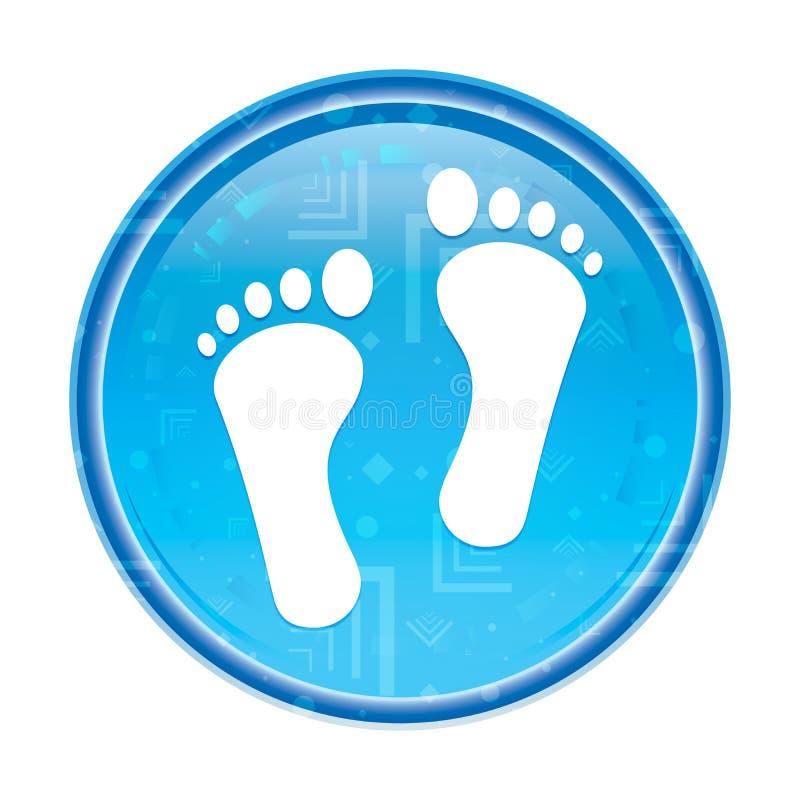Bottone rotondo blu floreale dell'icona umana di due orme illustrazione di stock