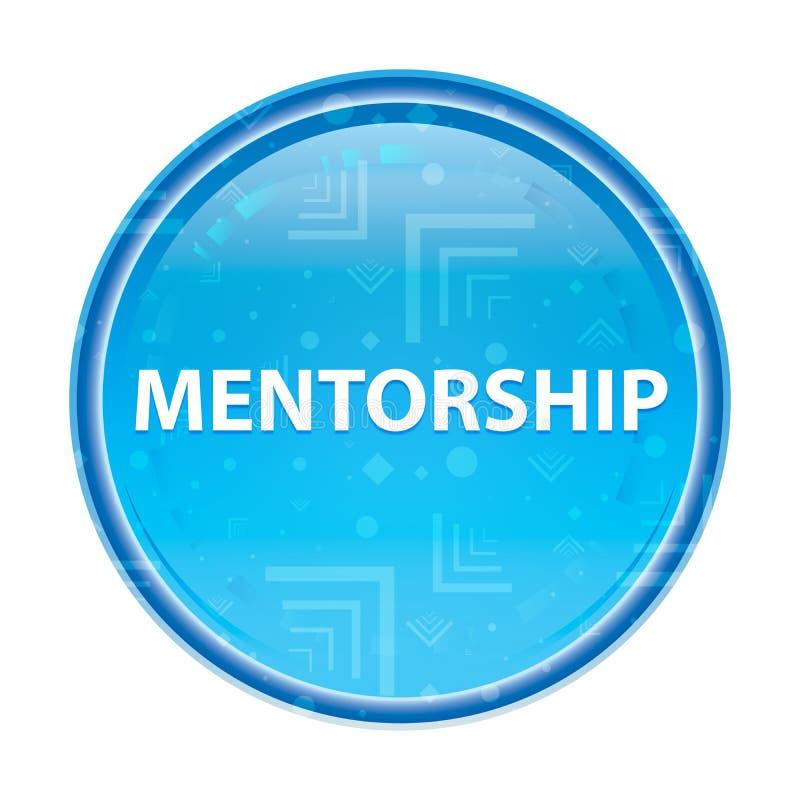 Bottone rotondo blu floreale di mentoring illustrazione di stock