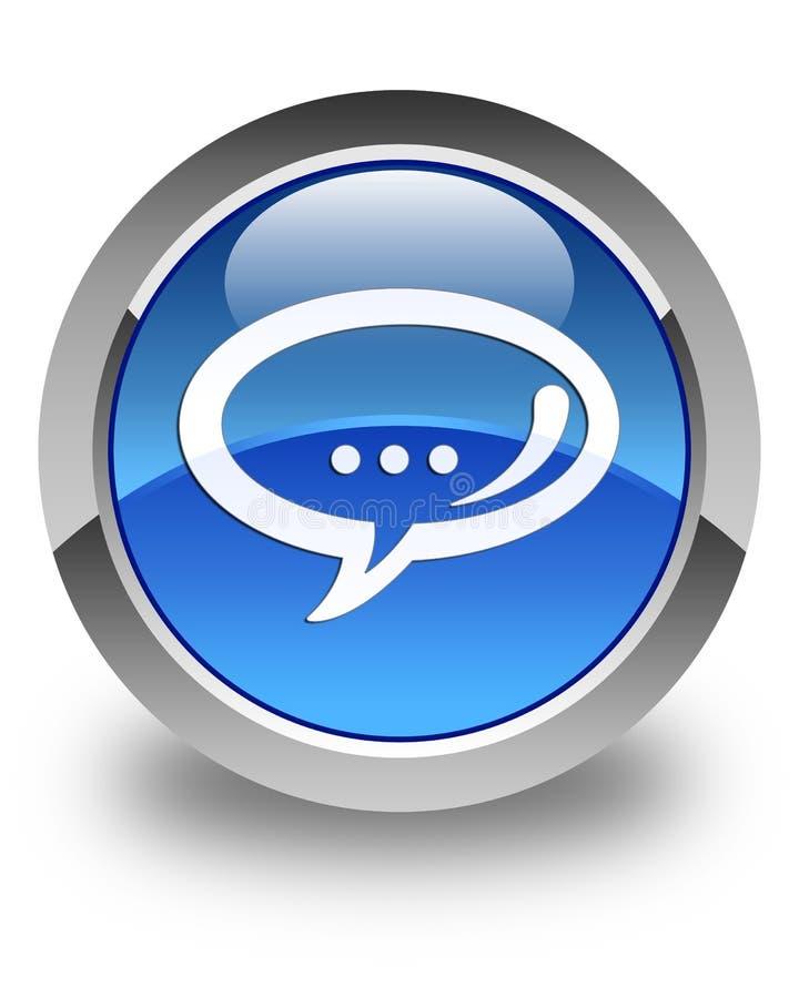 Bottone rotondo blu lucido dell'icona di chiacchierata royalty illustrazione gratis
