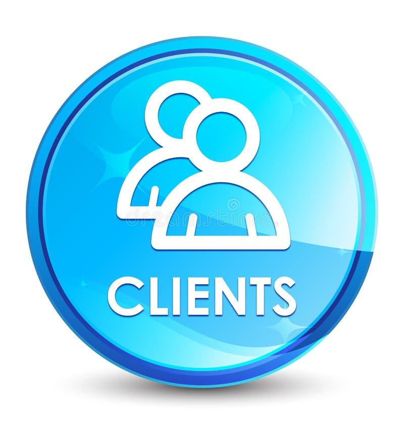 Bottone rotondo blu naturale della spruzzata dei clienti (icona del gruppo) illustrazione di stock