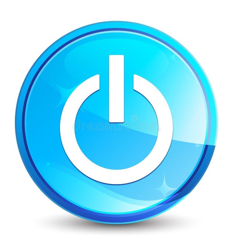 Bottone rotondo blu naturale della spruzzata dell'icona di potere illustrazione di stock