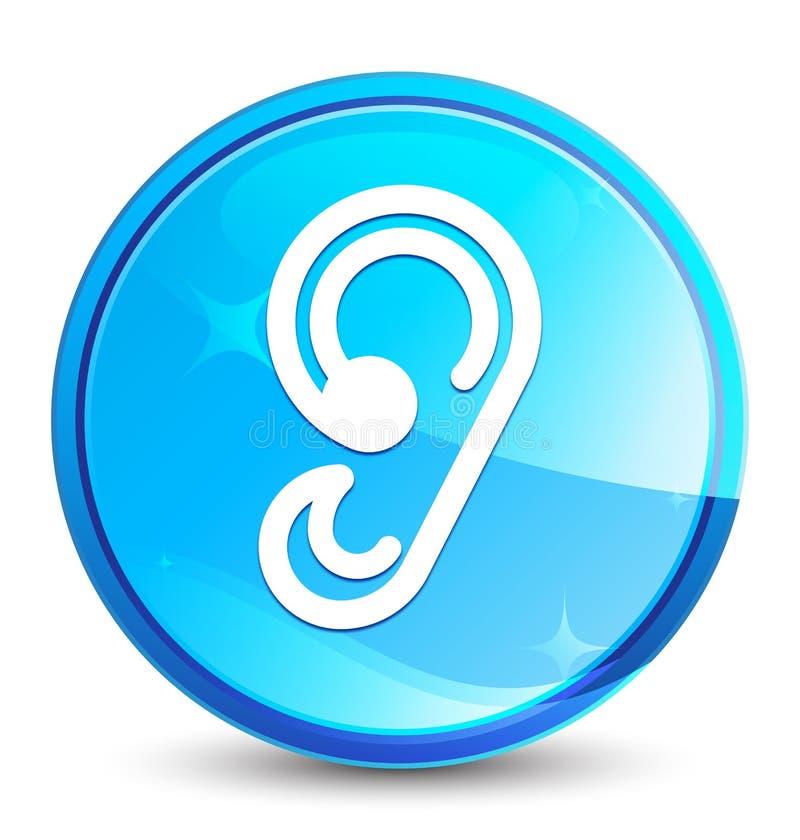 Bottone rotondo blu naturale della spruzzata dell'icona dell'orecchio royalty illustrazione gratis