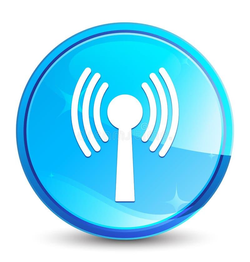 Bottone rotondo blu naturale della spruzzata dell'icona della rete di Wlan illustrazione vettoriale
