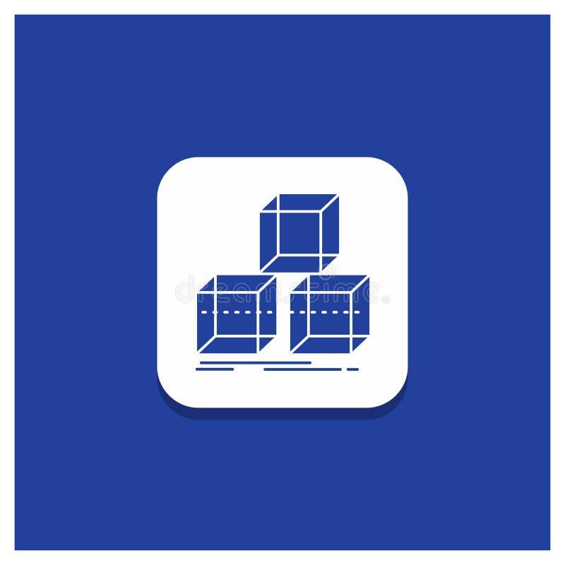 Bottone rotondo blu per Arrange, progettazione, pila, 3d, icona di glifo della scatola illustrazione vettoriale
