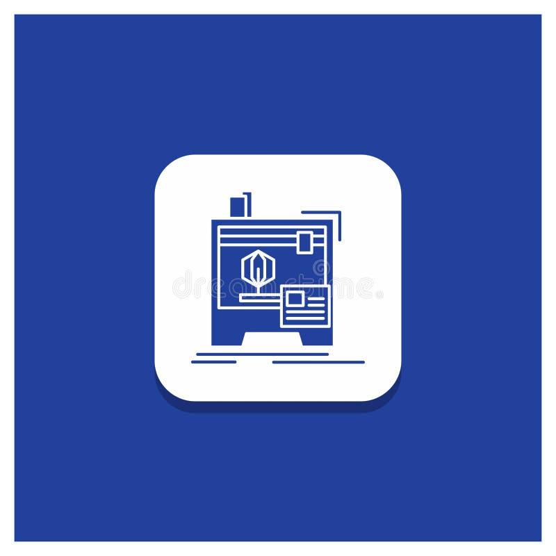 Bottone rotondo blu per 3d, dimensionale, macchina, stampante, icona di glifo di stampa illustrazione vettoriale