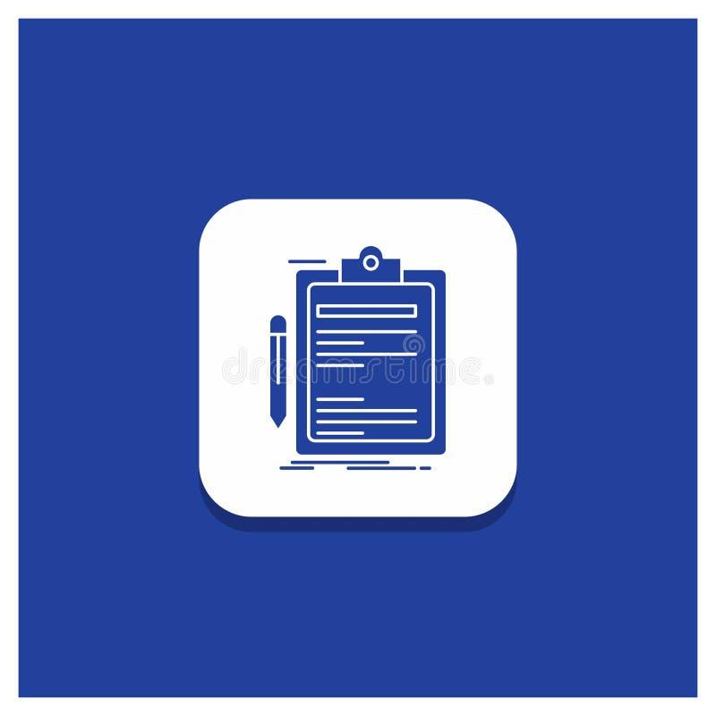 Bottone rotondo blu per il contratto, controllo, affare, fatto, icona di glifo del bordo di clip royalty illustrazione gratis