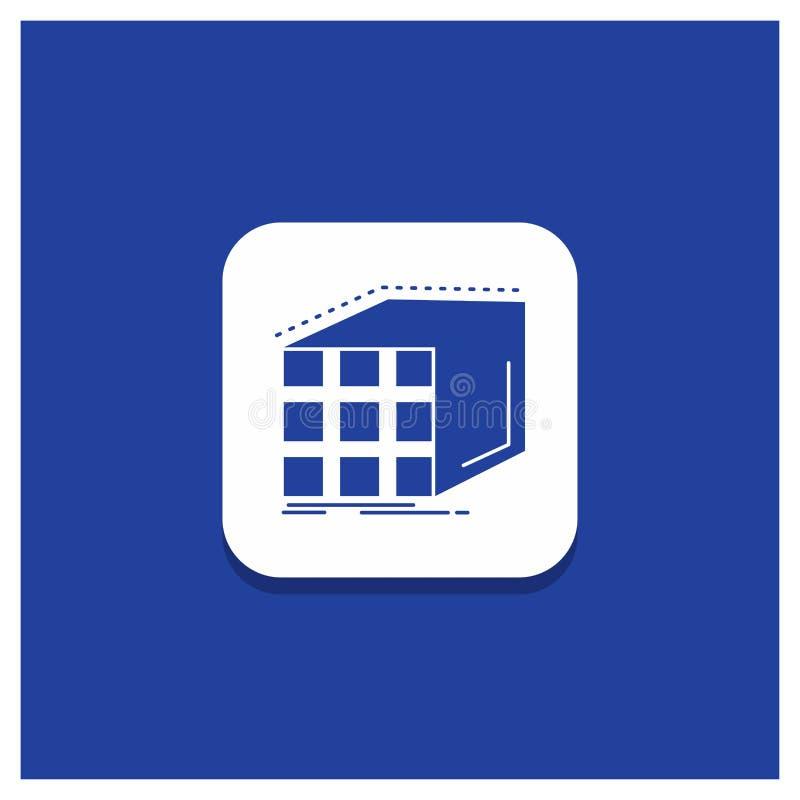 Bottone rotondo blu per l'estratto, aggregazione, cubo, dimensionale, icona di glifo della matrice illustrazione di stock