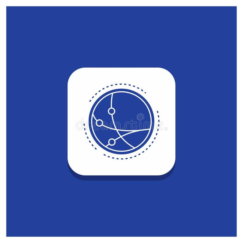 Bottone rotondo blu per mondiale, comunicazione, collegamento, Internet, icona di glifo della rete illustrazione di stock