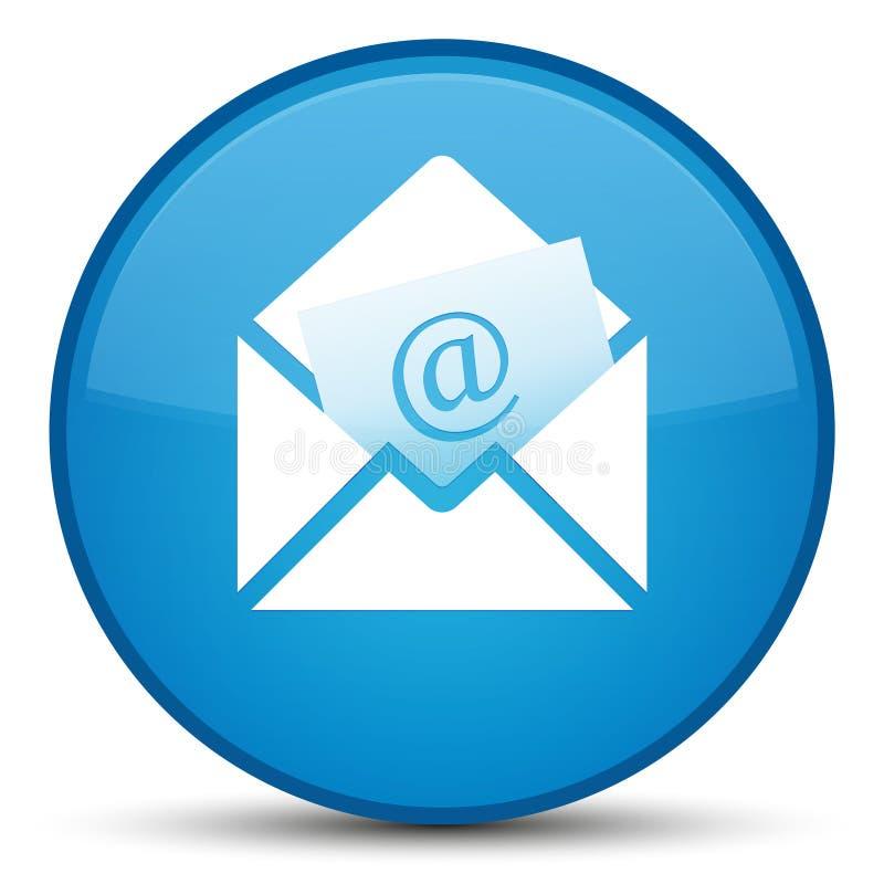 Bottone rotondo blu speciale dell'icona del email del bollettino ciano illustrazione di stock