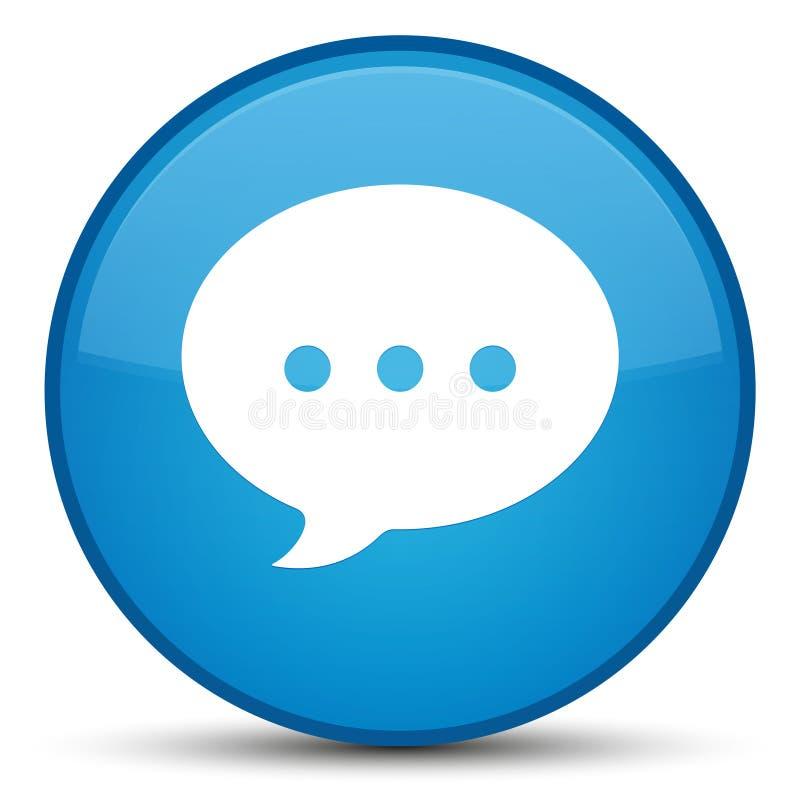 Bottone rotondo blu speciale dell'icona di conversazione ciano illustrazione di stock