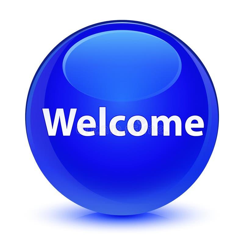 Bottone rotondo blu vetroso benvenuto illustrazione vettoriale