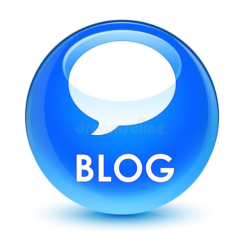 Bottone rotondo blu vetroso del blog (icona di conversazione) ciano illustrazione di stock