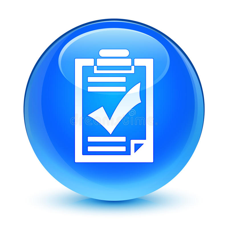 Bottone rotondo blu vetroso dell'icona della lista di controllo ciano royalty illustrazione gratis