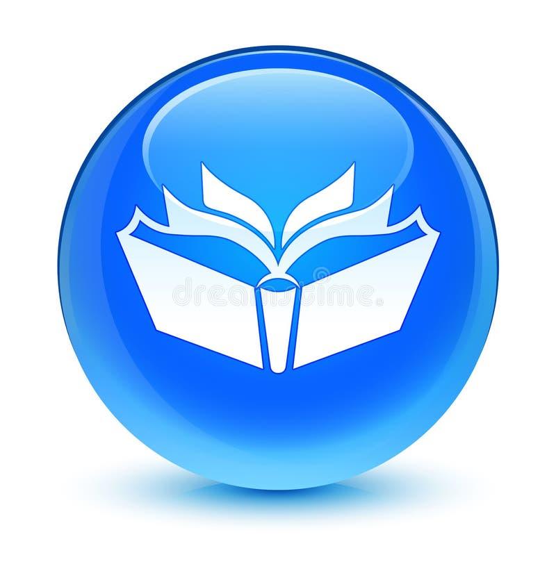 Bottone rotondo blu vetroso dell'icona di traduzione ciano illustrazione vettoriale