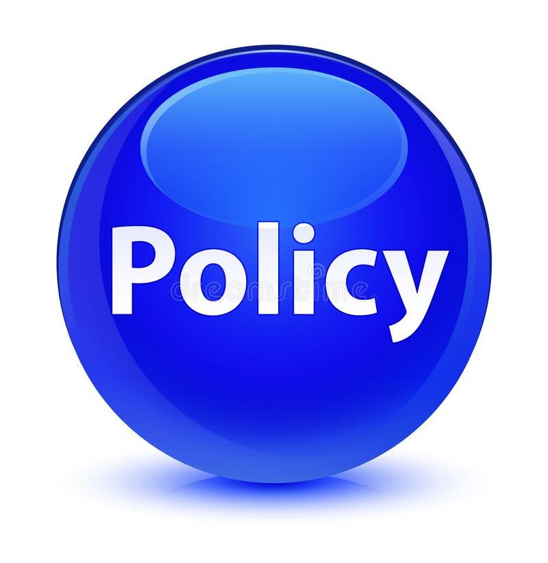 Bottone rotondo blu vetroso di politica illustrazione di stock