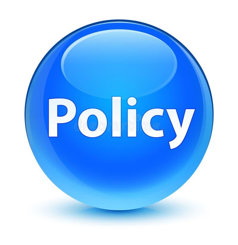 Bottone rotondo blu vetroso di politica ciano illustrazione vettoriale