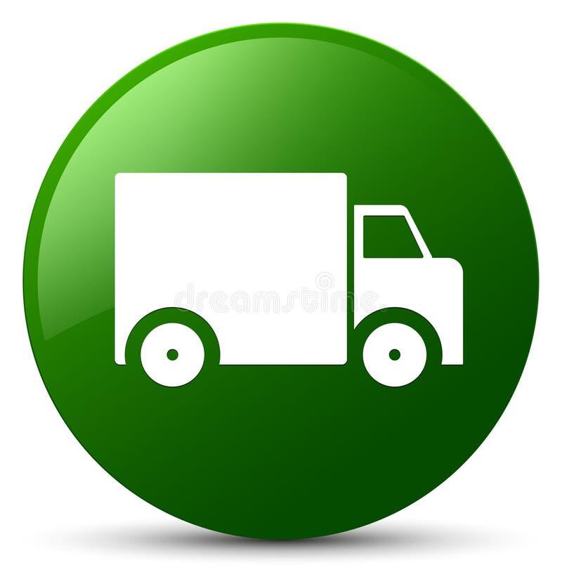 Bottone rotondo di verde dell'icona del camion di consegna illustrazione di stock