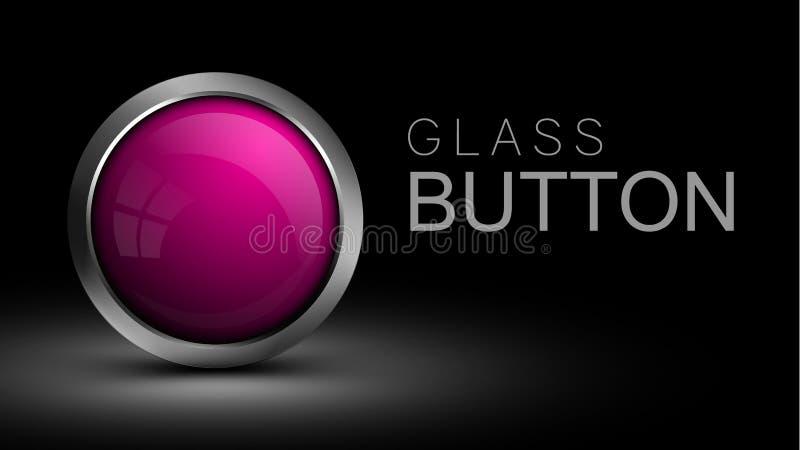 Bottone rotondo di vetro di rosa per l'interfaccia di software illustrazione vettoriale
