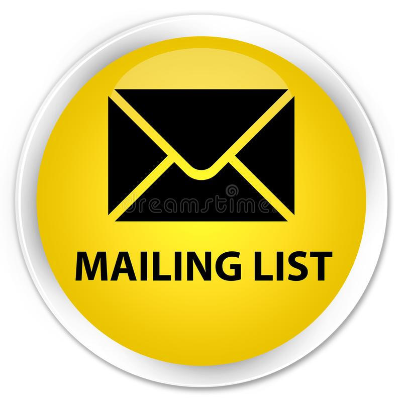 Bottone rotondo giallo premio dell'elenco di indirizzi illustrazione vettoriale