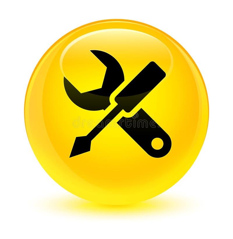 Bottone rotondo giallo vetroso dell'icona delle regolazioni illustrazione vettoriale