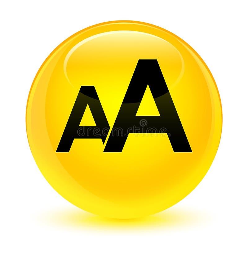 Bottone rotondo giallo vetroso dell'icona di dimensione illustrazione di stock