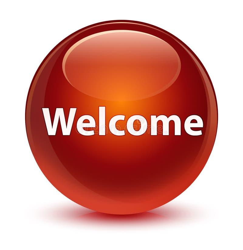 Bottone rotondo marrone vetroso benvenuto illustrazione vettoriale