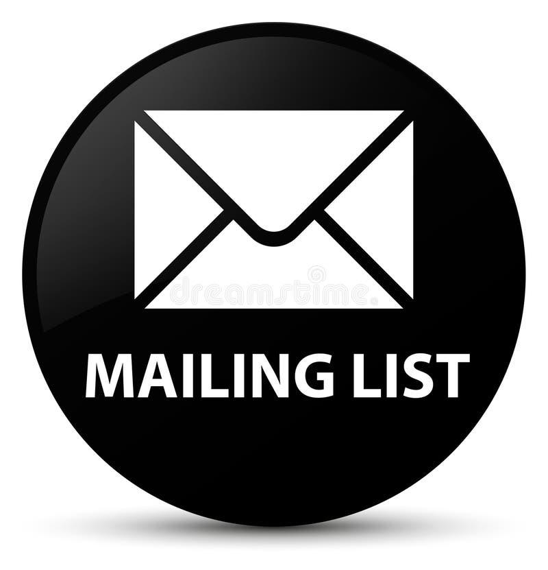 Bottone rotondo nero dell'elenco di indirizzi illustrazione di stock