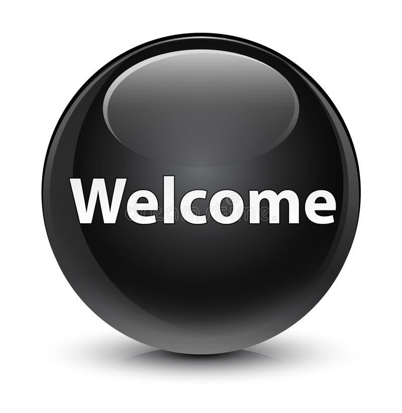 Bottone rotondo nero vetroso benvenuto royalty illustrazione gratis