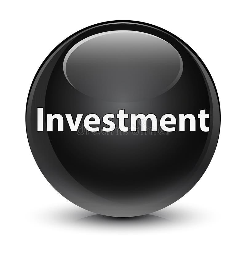 Bottone rotondo nero vetroso di investimento illustrazione di stock