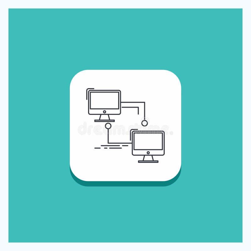 Bottone rotondo per il locale, lan, collegamento, sincronizzazione, linea di computer fondo del turchese dell'icona illustrazione di stock