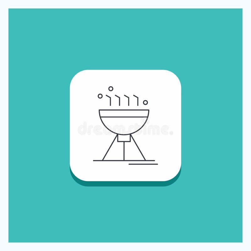 Bottone rotondo per la cottura del bbq, accampantesi, alimento, linea fondo della griglia del turchese dell'icona illustrazione di stock