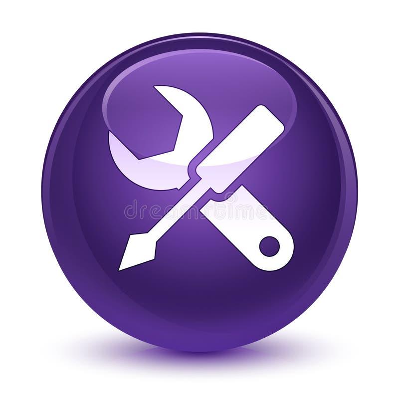Bottone rotondo porpora vetroso dell'icona delle regolazioni royalty illustrazione gratis
