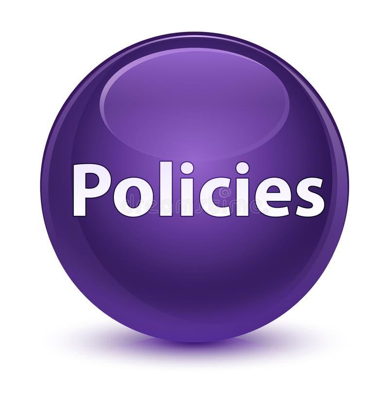 Bottone rotondo porpora vetroso di politiche illustrazione di stock