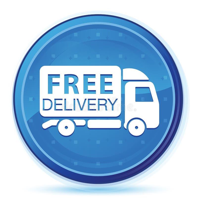 Bottone rotondo principale blu di mezzanotte dell'icona del camion di consegna gratuita royalty illustrazione gratis