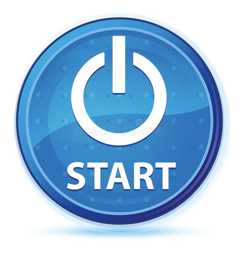 Bottone rotondo principale blu di mezzanotte di inizio (icona di potere) illustrazione di stock