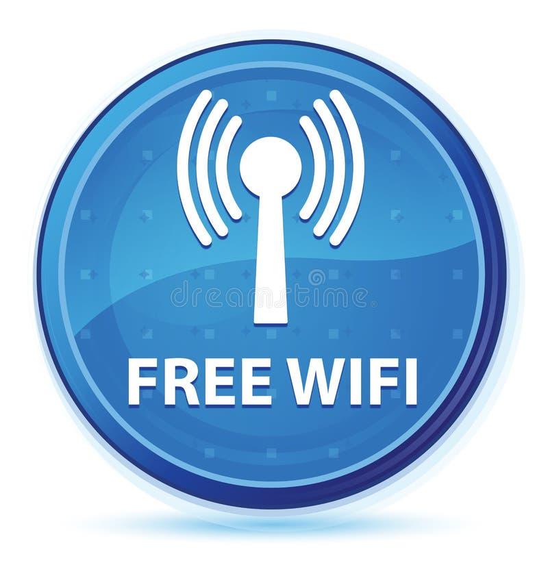 Bottone rotondo principale blu di mezzanotte libero di wifi (rete wlan) illustrazione vettoriale