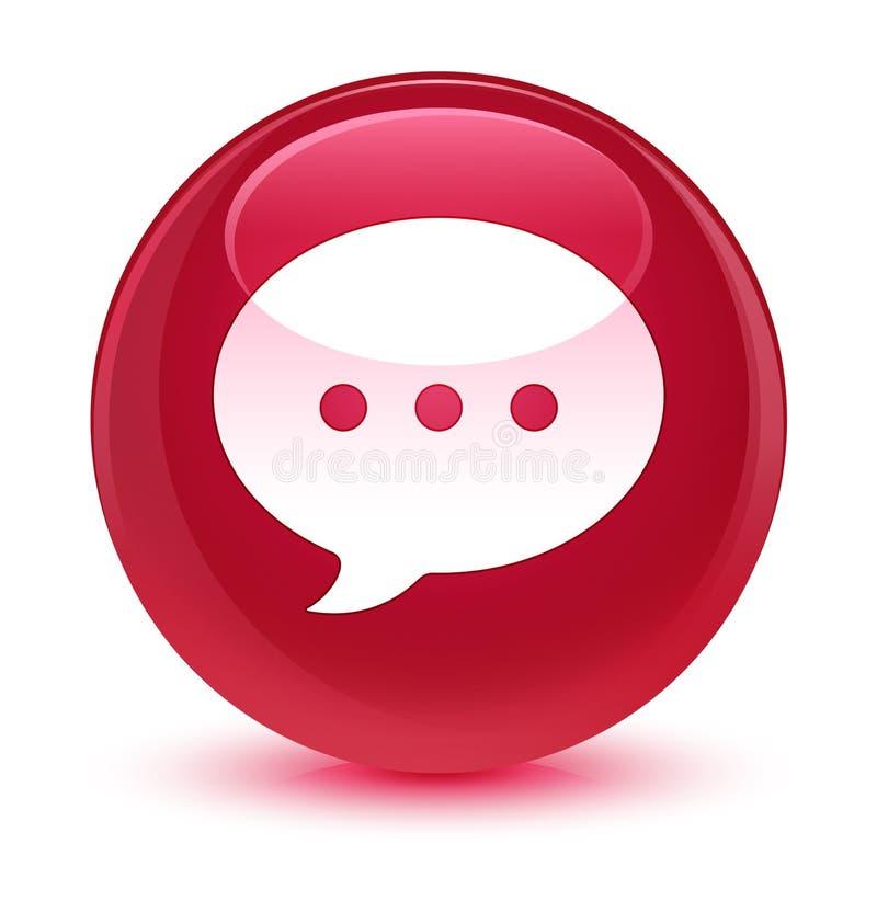 Bottone rotondo rosa vetroso dell'icona di conversazione illustrazione vettoriale