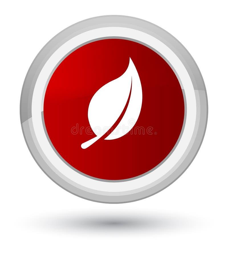 Bottone rotondo rosso di perfezione dell'icona della foglia illustrazione di stock