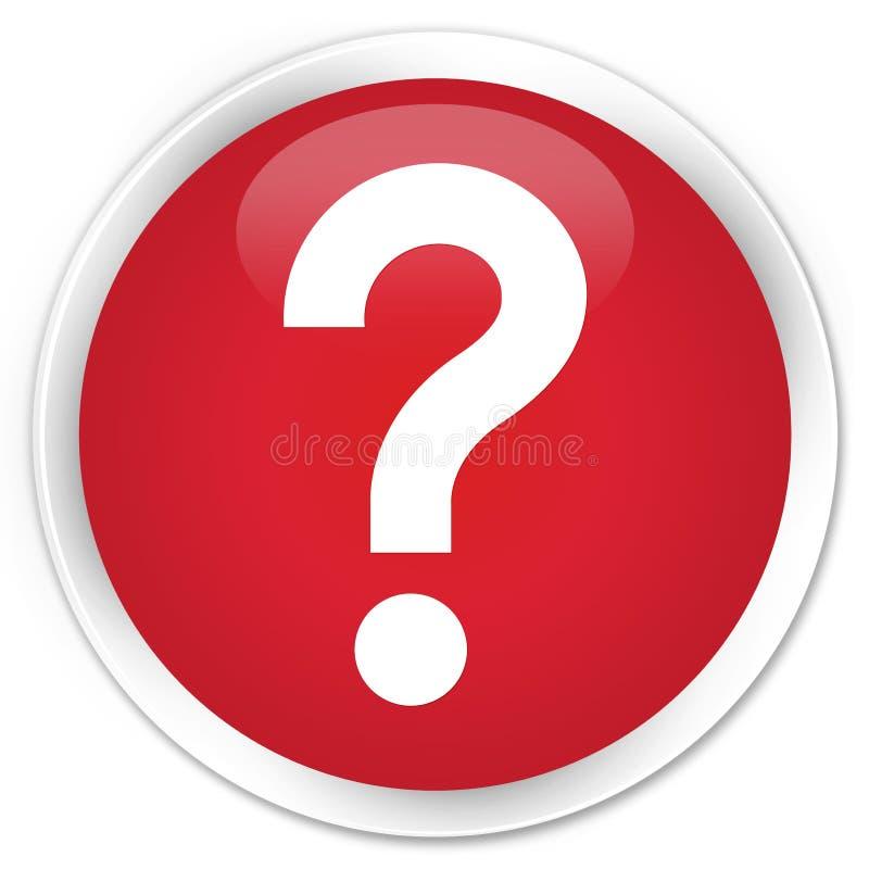 Bottone rotondo rosso premio dell'icona del punto interrogativo illustrazione di stock