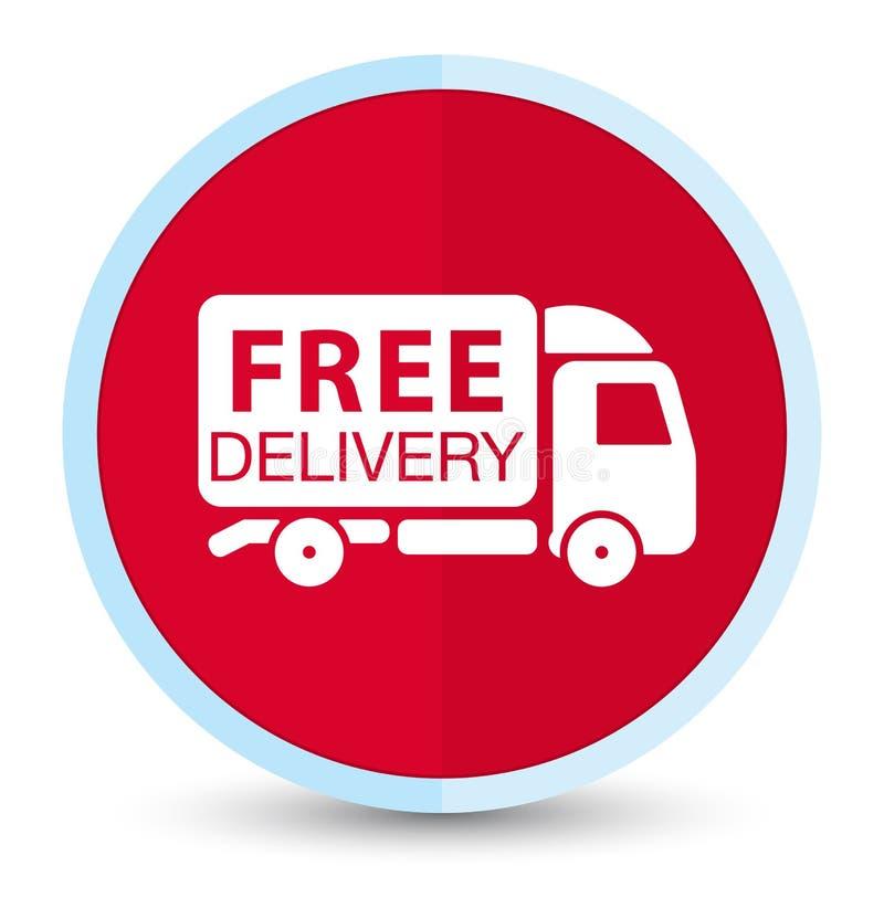 Bottone rotondo rosso principale piano dell'icona del camion di consegna gratuita illustrazione vettoriale