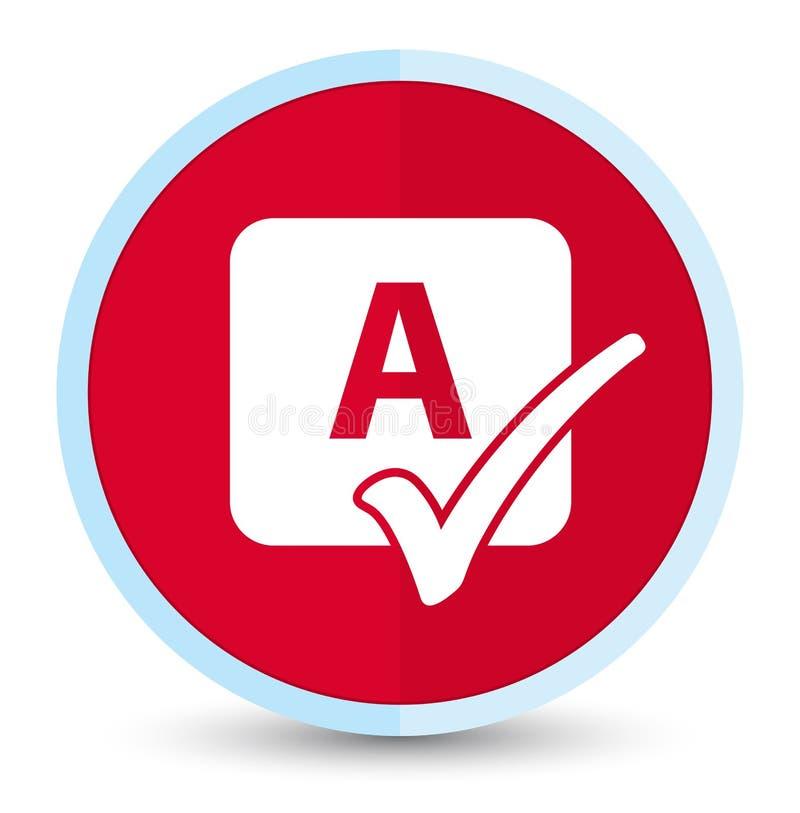 Bottone rotondo rosso principale piano dell'icona del controllo ortografico illustrazione vettoriale