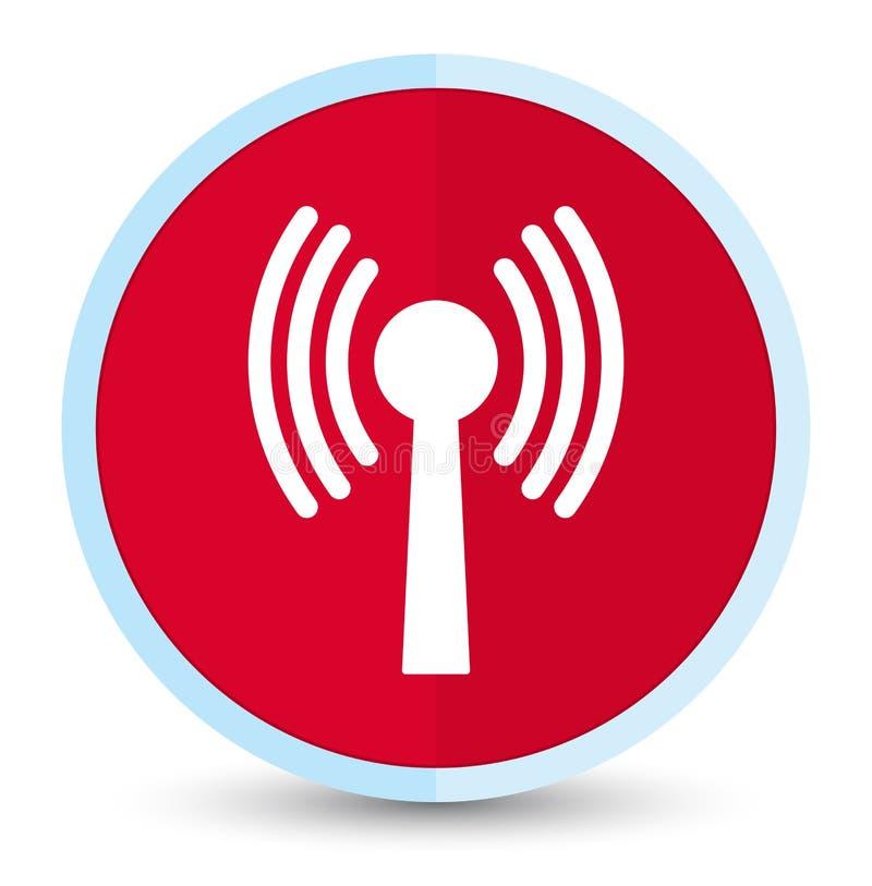 Bottone rotondo rosso principale piano dell'icona della rete di Wlan illustrazione di stock