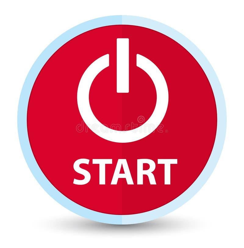 Bottone rotondo rosso principale piano di inizio (icona di potere) illustrazione vettoriale